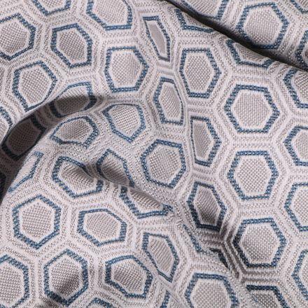Tissu Toile jacquard Hexagone marine sur fond Gris - Par 10 cm