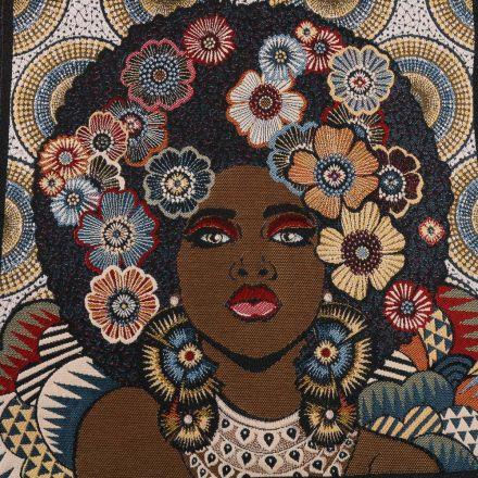 Panneau carré jacquard 48x48cm Beauty Afro sur fond Naturel