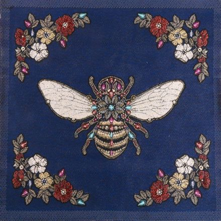 Panneau carré jacquard 48x48cm Abeille royale sur fond Bleu marine