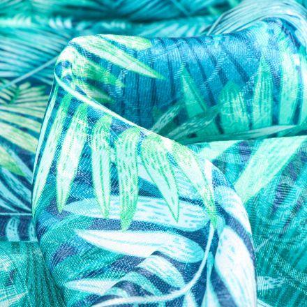 Tissu Jacquard Damassé Paloma sur fond Bleu turquoise