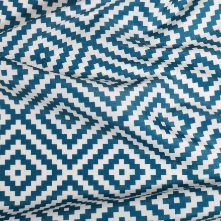 Tissu Toile extérieure imprimé Panama bleu canard sur fond Blanc - Par 10 cm