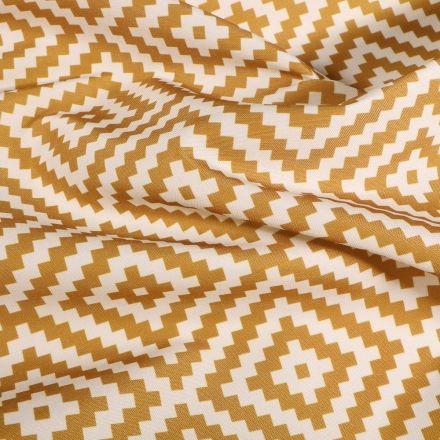 Tissu Toile extérieure imprimé Panama curry sur fond Blanc - Par 10 cm