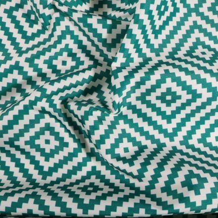 Tissu Toile extérieure imprimé Panama emeraude sur fond Blanc - Par 10 cm