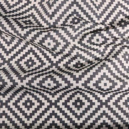 Tissu Toile extérieure imprimé Panama gris sur fond Blanc - Par 10 cm