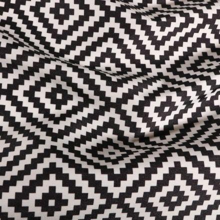 Tissu Toile extérieure imprimé Panama noir sur fond Blanc - Par 10 cm