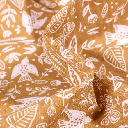 Tissu Coton imprimé Arty Botanique sur fond Jaune moutarde