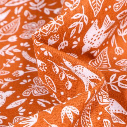 Tissu Coton imprimé Arty Botanique sur fond Orange