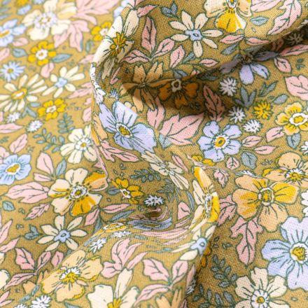 Tissu Coton imprimé Arty Pensée sur fond Vert kaki