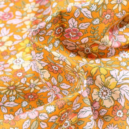 Tissu Coton imprimé Arty Pensée sur fond Jaune