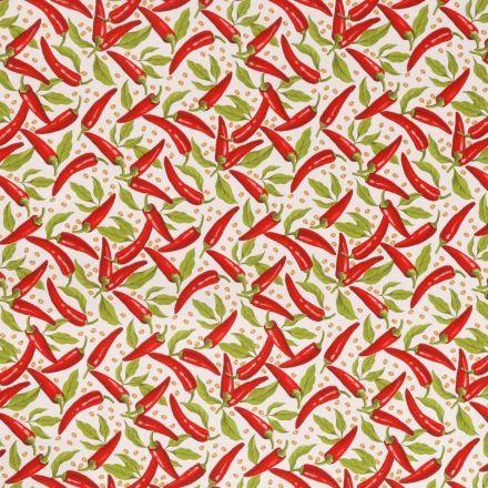 Toile Cirée Piments rouges et verts sur fond Blanc - Par 10 cm