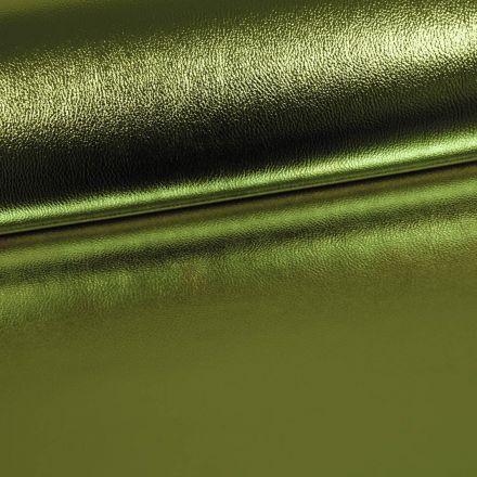 Simili Cuir Premium Métallisé Vert Olive - Par 50 cm