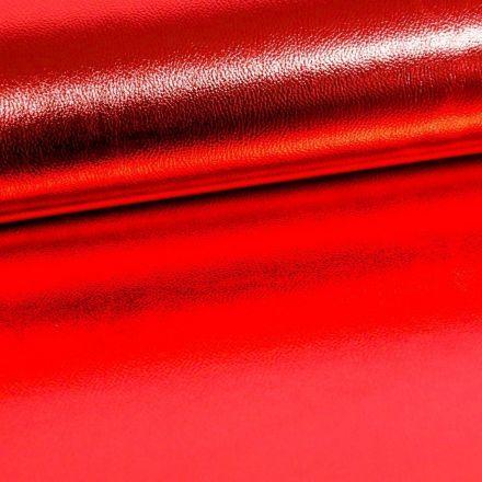 Simili Cuir Premium Métallisé Rouge - Par 50 cm