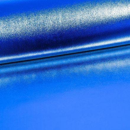 Simili Cuir Premium Métallisé Bleu Roi - Par 50 cm