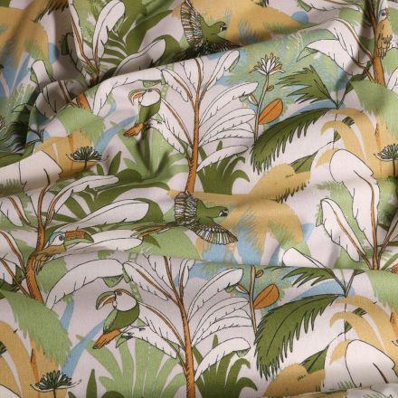 Tissu Coton imprimé Arty Tropic sur fond Beige sable - Par 10 cm