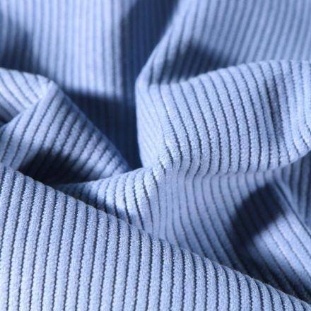 Tissu Velours d'ameublement côtelé Lena Bleu azur - Par 10 cm