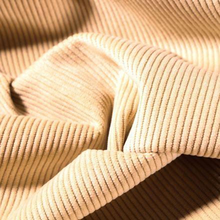 Tissu Velours d'ameublement côtelé Lena Beige - Par 10 cm