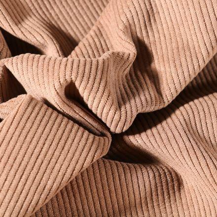 Tissu Velours d'ameublement côtelé Lena Taupe - Par 10 cm