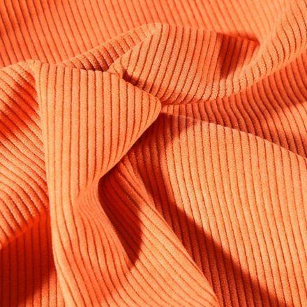 Tissu Velours d'ameublement côtelé Lena Orange - Par 10 cm