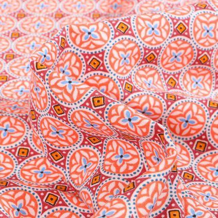 Tissu Viscose Arty Thalie sur fond Corail