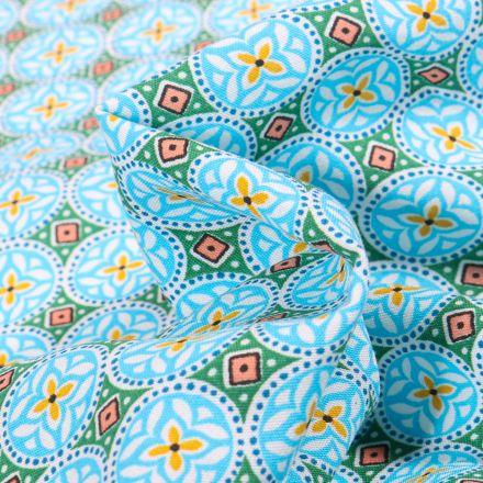 Tissu Viscose Arty Thalie sur fond Bleu turquoise