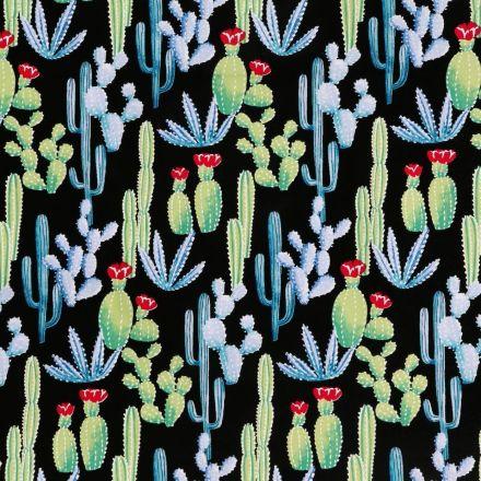 Toile Cirée Tijuana Cactus bleus, verts et rouges sur fond Noir - Par 10 cm
