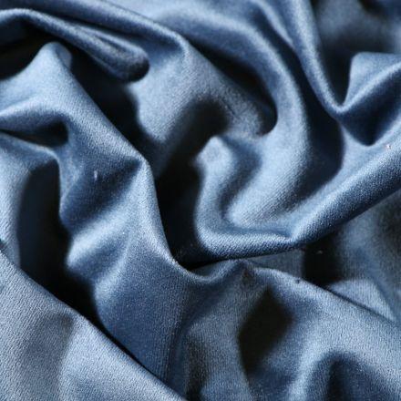 Tissu Velours d'ameublement uni souple Bleu - Par 10 cm