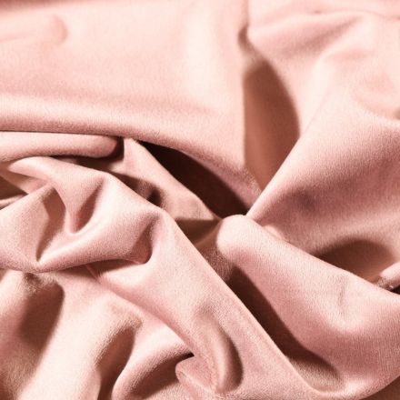 Tissu Velours d'ameublement uni souple Rose blush - Par 10 cm
