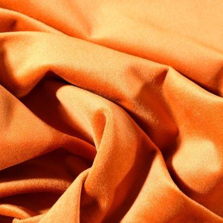 Tissu Velours d'ameublement uni souple Orange - Par 10 cm