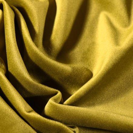 Tissu Velours d'ameublement uni souple Vert olive - Par 10 cm