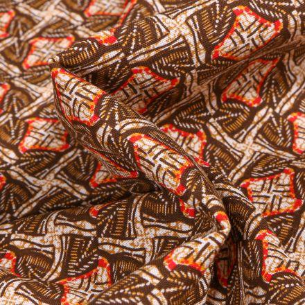 Tissu Viscose Arty Inspiration wax sur fond Marron