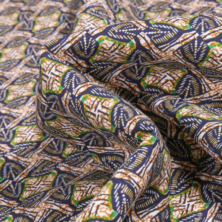 Tissu Viscose Arty Inspiration wax sur fond Beige