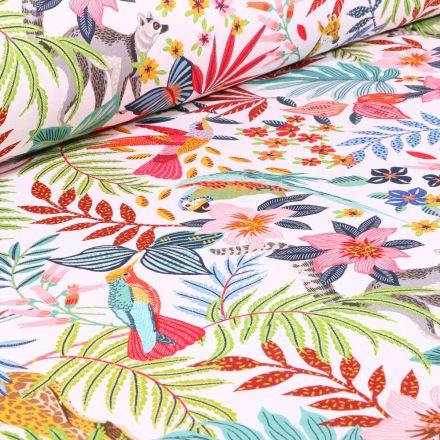 Tissu Coton imprimé Arty Zanzibar sur fond Blanc