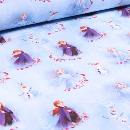 Tissu Disney Anna Elsa et Olaf sur fond Bleu ciel