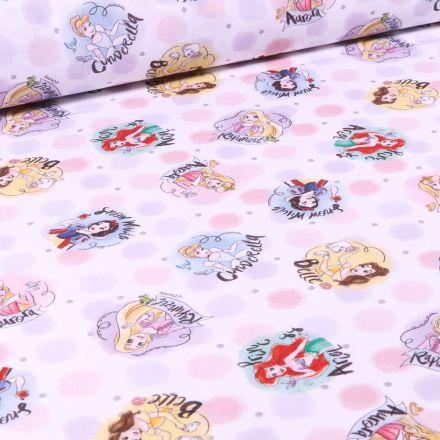Tissu Disney Princesse et pois sur fond Blanc