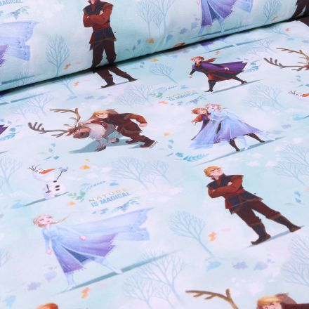 Tissu Disney Kristoff et Elsa sur fond Bleu
