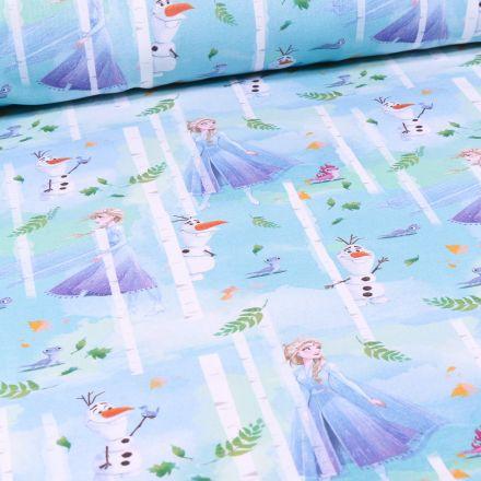 Tissu Disney Reine des neiges Frozen sur fond Bleu