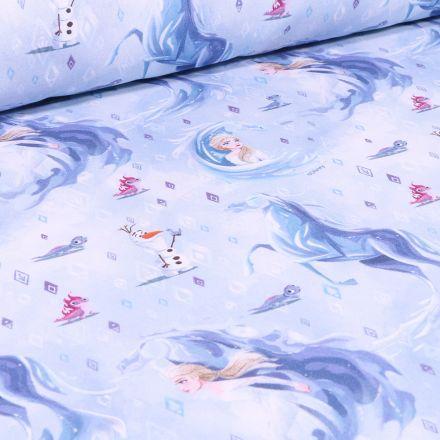 Tissu Disney Reine des neiges glacial sur fond Bleu