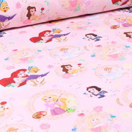 Tissu Disney Princesse Party sur fond Rose
