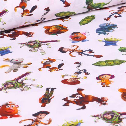 Tissu Disney Toy Story academy sur fond Blanc