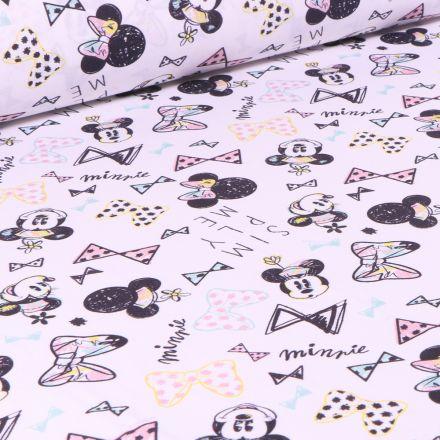 Tissu Disney Minnie pastel sur fond Blanc