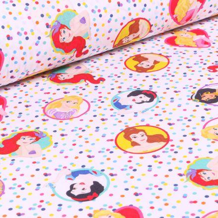 Tissu Disney Princesses et confettis sur fond Blanc