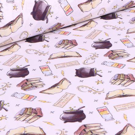 Tissu Harry Potter Potions sur fond Blanc