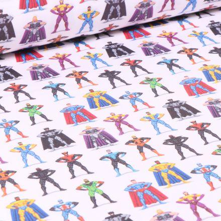 Tissu Super héros Avengers sur fond Blanc