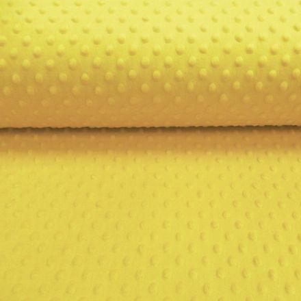 Tissu Minky Ultra doux Pois Jaune - Par 10 cm