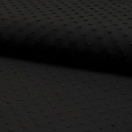 Tissu Plumetis Coton Noir - Par 10 cm
