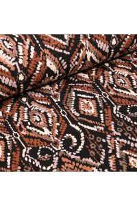 Tissu Jersey Viscose Motifs ethniques sur fond Noir