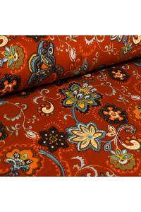 Tissu Jersey Viscose Chardons et fleurs sur fond Rouille