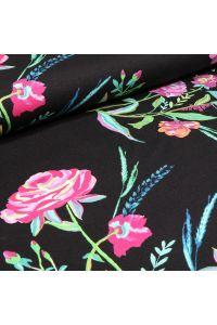 Tissu Jersey Viscose Bouton de rose sur fond Noir