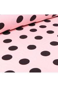 Tissu Viscose légère Gros pois noirs sur fond Rose pâle