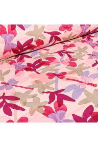 Tissu Viscose Craftine Aquarelle Jardin secret sur fond Rose pâle
